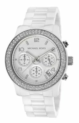 966d8e08b7f1 Michael Kors New MK5188 Runway White Dial Ceramic Glitz Ladies Wrist Watch