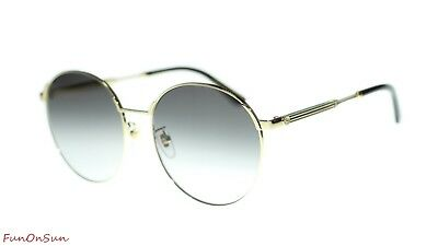 98d4231f12 Gucci Women s Sunglasses GG0206SK 001 Gold  Grey Gradient Lens Round 58mm