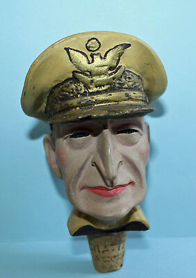 Alter ACHATIT Zierkorken MacArthur Figur / Flaschenkorken / Bottle Stopper Head