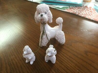 Vintage Pink Ceramic Confetti Spaghetti Poodle Mom & Pups on Chain Lefton/Napco?