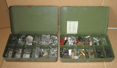 Vintage Bell Systems Metal Boxes with fasters and odds & ends