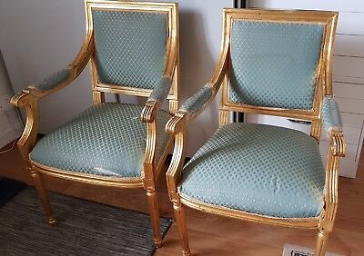 Antique Pair Of French Style Gilt Armchairs
