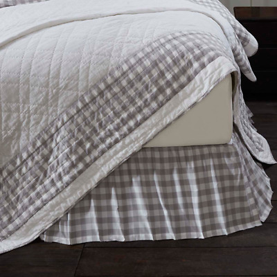 Annie Grey Buffalo Check Country Cottage Bedding Cotton Gathered Bed Skirt