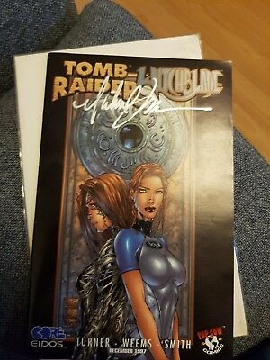 Tomb Raider Witchblade comic signed by Michael Turner