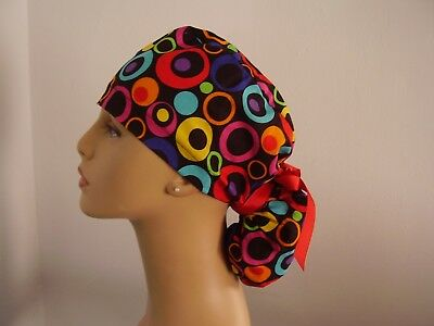 Ponytail Surgical Scrub Hat - Circles - Multi color