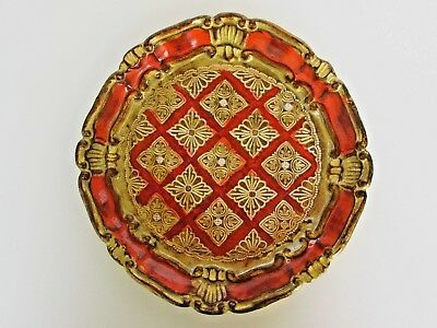 "Vintage Italian Hand-Painted Wood Tole Toleware Tray, Orange & Gold 9"" Diameter"