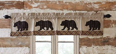 Wyatt Bear Cotton Rustic Country Cabin Window Valance