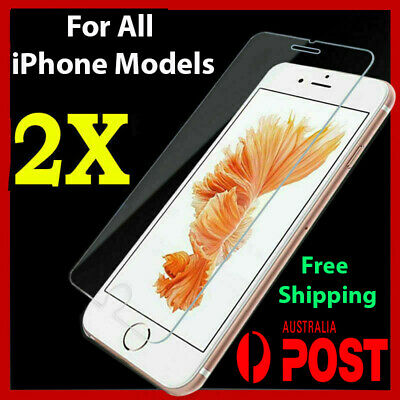 2x Tempered Glass Screen Protector for iPhone X XS XR 7 6s 8 4 11 pro max plus