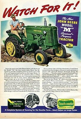1947 Print Ad of John Deere Model M General Purpose Farm Tractor watch for it!