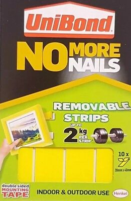 10 x Unibond No More Nails Removable Strips Double Sided Sticky Pads, easy use.