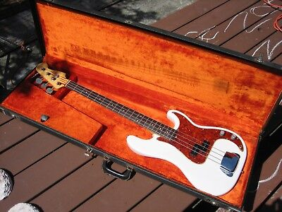 Pre CBS 1963 Fender Precision Bass, Olympic White Nitro Refinish, '66 Tolex Case