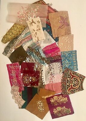 Junk Journal fabric scraps. 25 Pieces