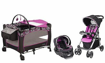 Evenfo Baby Stroller Car Seat Nursery Playard Travel System Set New