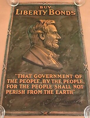 ORIGINAL WW1 POSTER Abraham Lincoln WWI Buy Liberty Bonds Gettysburg Address war