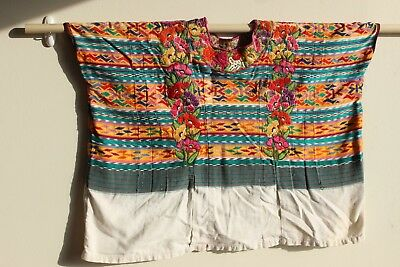 Vintage Hand-Woven Embroidered Guatemalan Huipil worn by Mayan Tribeswoman