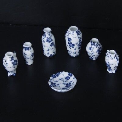 N2L2 1/12 Dollhouse Miniatures Ceramics Porcelain Vase Blue Vine -7 piece