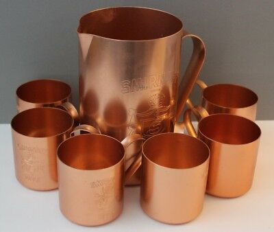 Nice! 1980 Collectible Copper Smirnoff Moscow Mule Pitcher & 6 Cups Mugs Set