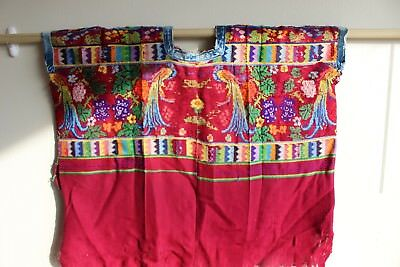 Authentic Hand-Woven Embroidered Guatemalan Huipil Worn by Mayan Tribeswoman
