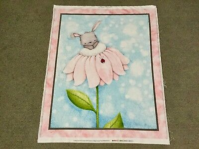 Bunny Rabbit Fabric Panel Baby Girls Nursery Quilt Panel Easter Flower Ladybug