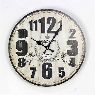 Vintage Wall Clock Wood Home Decor Retro Numbers British Style Chic-BUY