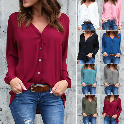 Womens Plus Size Chiffon Long Sleeve Casual Blouse Ladies OL Work T Shirt Tops