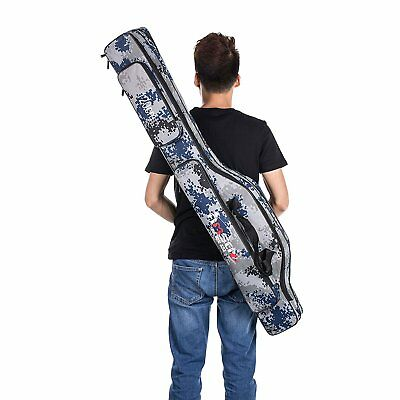 3Layer Waterproof Fishing Rod Reel Case Bag Folding Holder Pole Tool Storage Bag