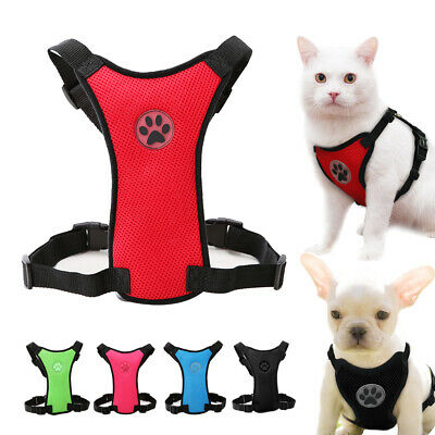 Mesh Cat Harness Adjustable Kitten Cat Vest for Daily Walking Red Blue Pink