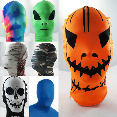 Lycra Spandex Full Face Hood Zentai Mask Halloween Superhero Costume Cosplay OS