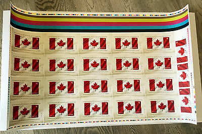 Canada's FLAG 50th Anniv SIGN &NUMBERED First Fabric Uncut press sheet 2015