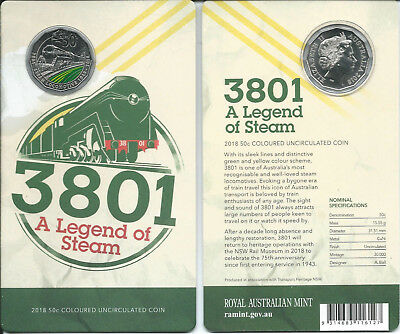 2018 50c '3801 A Legend of Steam' Colored Carded Coin