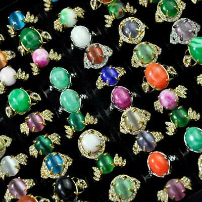 8Pcs Vintage Cat's Eye Stone Opal Gold Plated Rings Women Wholesale Jewelry BFP