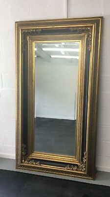 Beautiful Large Black Wood And Gilt Antique Effect Ornate Mirror 205/114Cm
