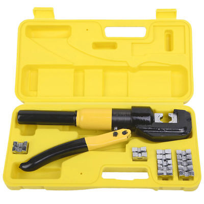 NEW 8 Ton Hydraulic Wire Terminal Crimper Battery Cable Lug Crimping Tool w/Dies
