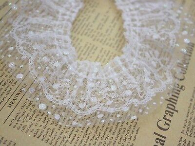White Double Layer Ruffle Unilateral Glitter Dot Tulle Lace Ribbon Trim 60mm
