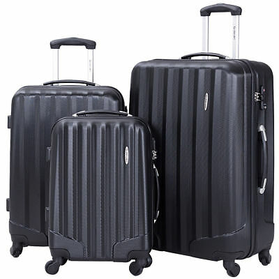 NEW GLOBALWAY 3 Pcs Luggage Travel Set Bag ABS Trolley Suitcase w/TSA Lock Black