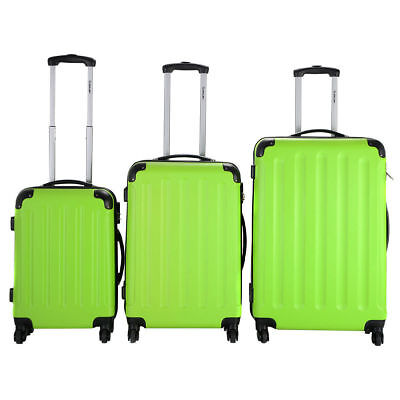NEW GLOBALWAY 3 Pcs Luggage Travel Set Bag ABS Trolley Suitcase Green
