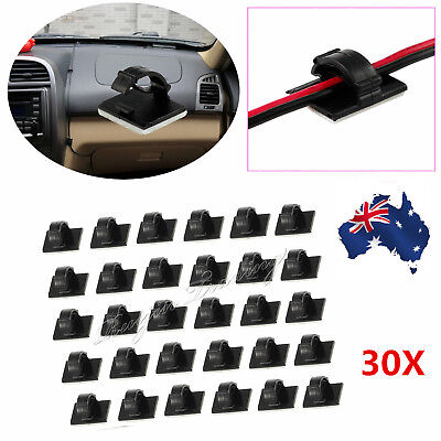 30Pcs Car Wire Tie Self-adhesive Rectangle Cord Cable Holder Mount Clip Clamp AU