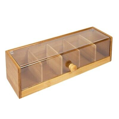 Woodluv 5 Compartment Tea Bag Storage Caddy Box Organizer - In Bamboo & Acrylic