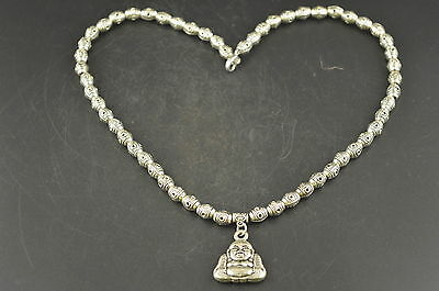 Decorated Miao Silver Carving Dzi Bead Shape & Buddha Rare Exorcise Necklace