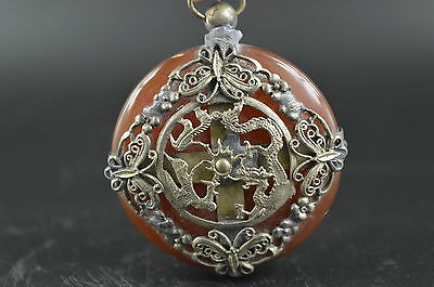 Decorated Wonderful Agate Armoured Dragon Phoenix Butterfly Rare Lucky Pendant