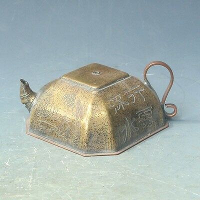 Old Chinese Folk lacquer old man landscape Statue Wine Tea Pot Flagon