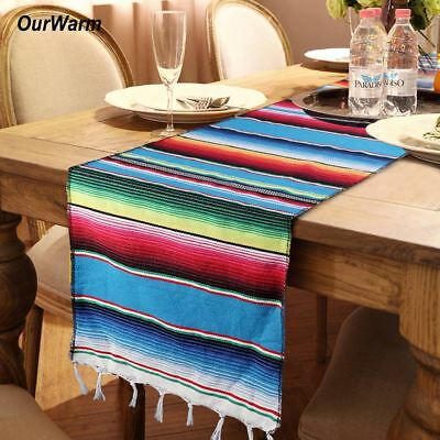 Mexican Serape Tassel Cotton Table Runner Party Wedding Tablecloth Home Decor