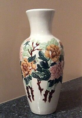 Hand painted Vase with Flowers Made in China