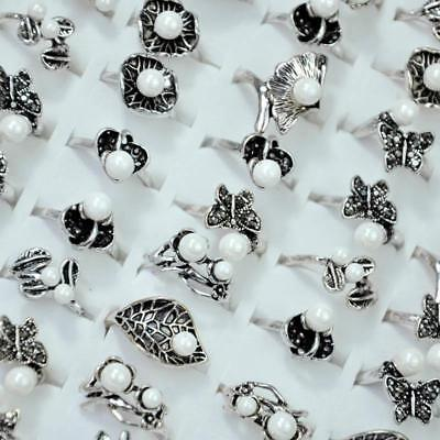 50Pcs Vintage Bead Ancient Silver Plated Rings Women Rings Wholesale Jewelry DFP