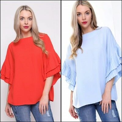 URBAN MISTWomens Layered Lace Ruffle 3//4 Sleeve Blouse Formal Summer Top