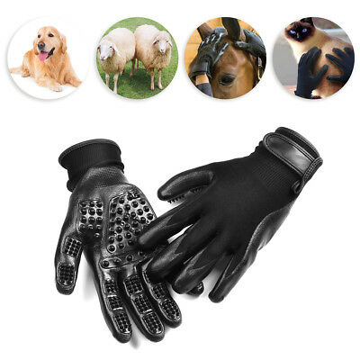 2Pcs Pet Grooming Glove Brush Comb Dog Cat Horse Hair Removal Care Bath Massage