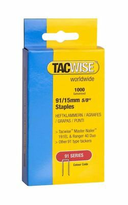 Tacwise 1000 Tacker Staples For use in 191EL, Ranger 40 Duo - 91/15mm 5/8""