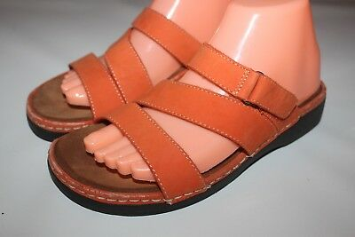 Minnetonka Moccasin Women's 8 Orange Slip On Leather Straps Sandals Open Toe