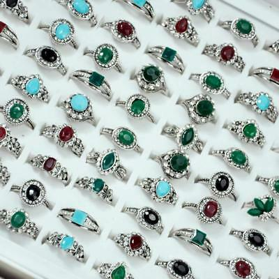 50Pcs Acrylic Ancient Silver Plated Rings Rhinestone Women Wholesale Jewelry DFP
