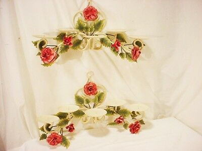 Pair Vtg Metal Hand Painted Sconce Flowers Leaves Tole ware Wall Candle Holders